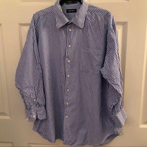 Nautica men's dress shirt size 17.5 stripes GUC